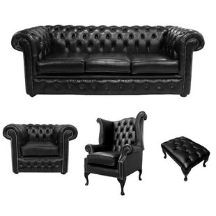 Holdenville Chesterfield 4 Piece Leather Sofa Set By Rosalind Wheeler