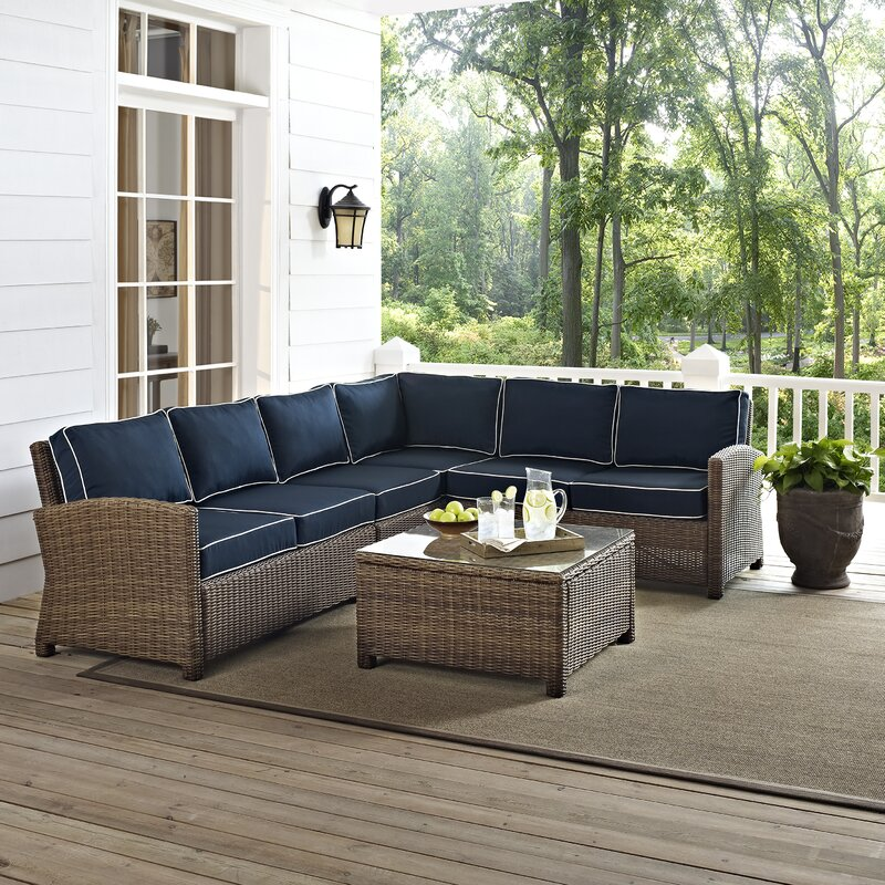 Beachcrest Home Dardel 5 Piece Sectional Seating Group with Cushions