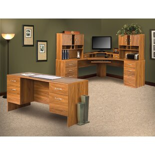Leavy 4 Piece L-Shape Desk Office Set With Hutch by Millwood Pines Herry Up