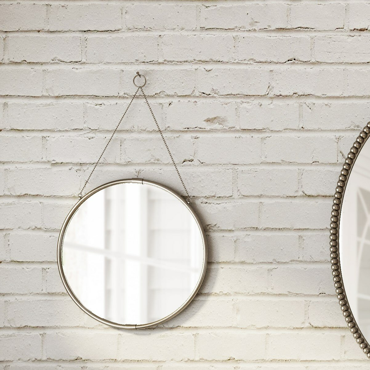 Heckstall Decorative Round Hanging Modern Contemporary Wall Mirror