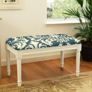 Azurine Jacobean Floral Wood Bench