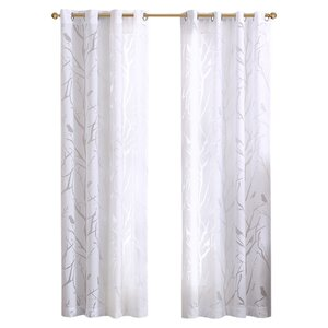 Averil Nature/Floral Semi-Sheer Grommet Single Curtain Panel