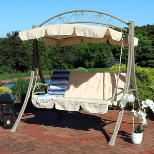 Basile Steel Frame Cushioned Porch Swing with Stand by Freeport Park