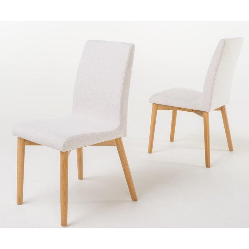 Mercury Row  Liles 5 Piece Dining Set Table Color: Natural Oak, Chair Finish: Light Beige