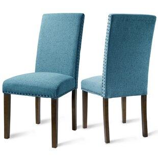 Zwingle Velvet Upholstered Dining Chair in Blue