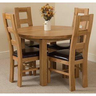 Soejima Solid Oak Dining Set With 4 Yale Chairs By Rosalind Wheeler