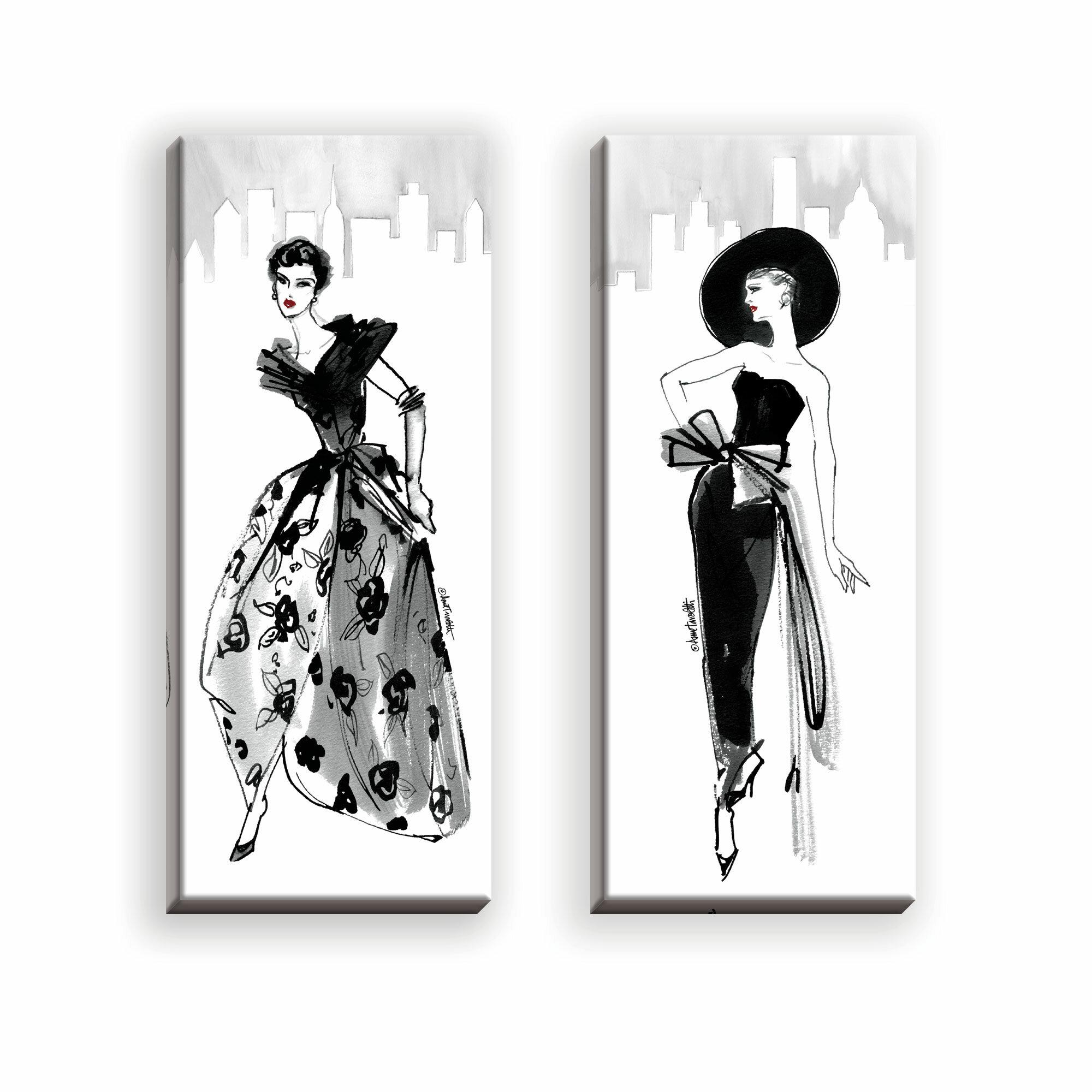 Rosdorf Park Trendy 50 S Fashion Model Sketch 2 Piece Graphic Art Print On Wrapped Canvas Reviews Wayfair
