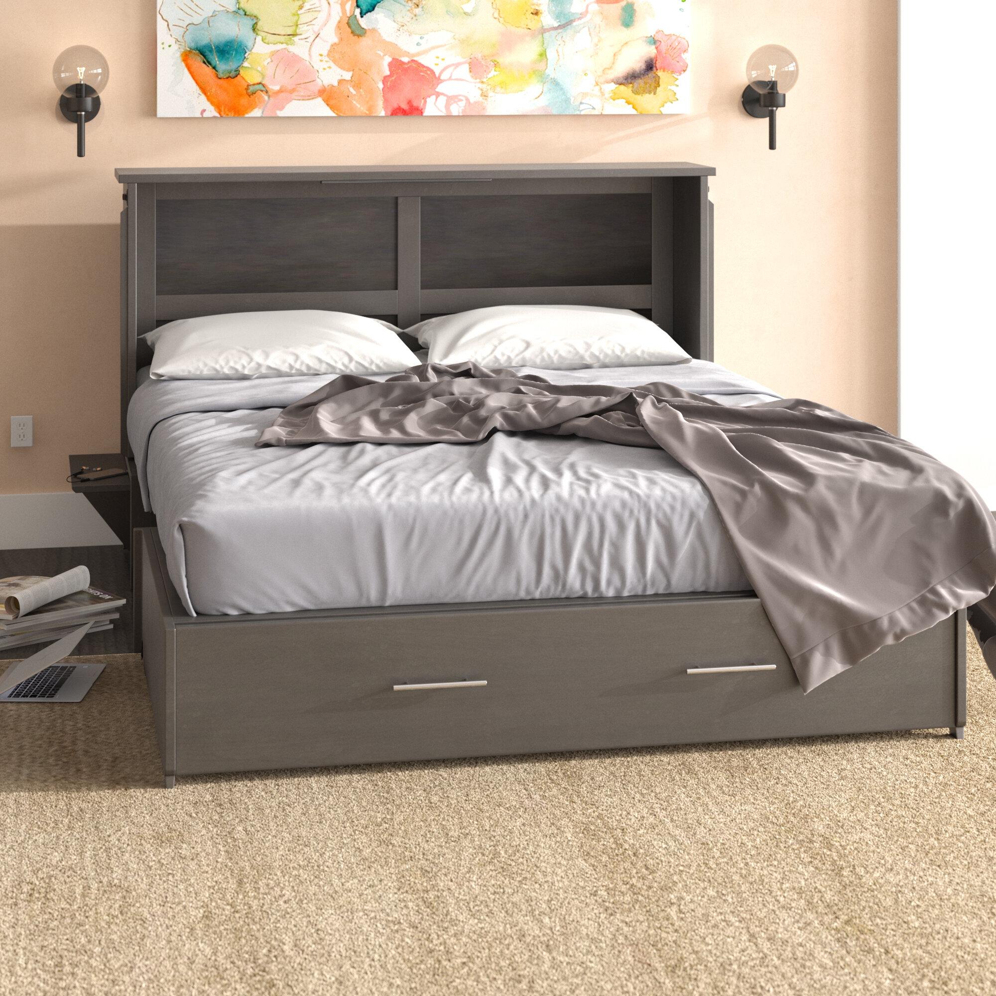 Latitude Run Edmeston Queen Storage Murphy Bed with Mattress