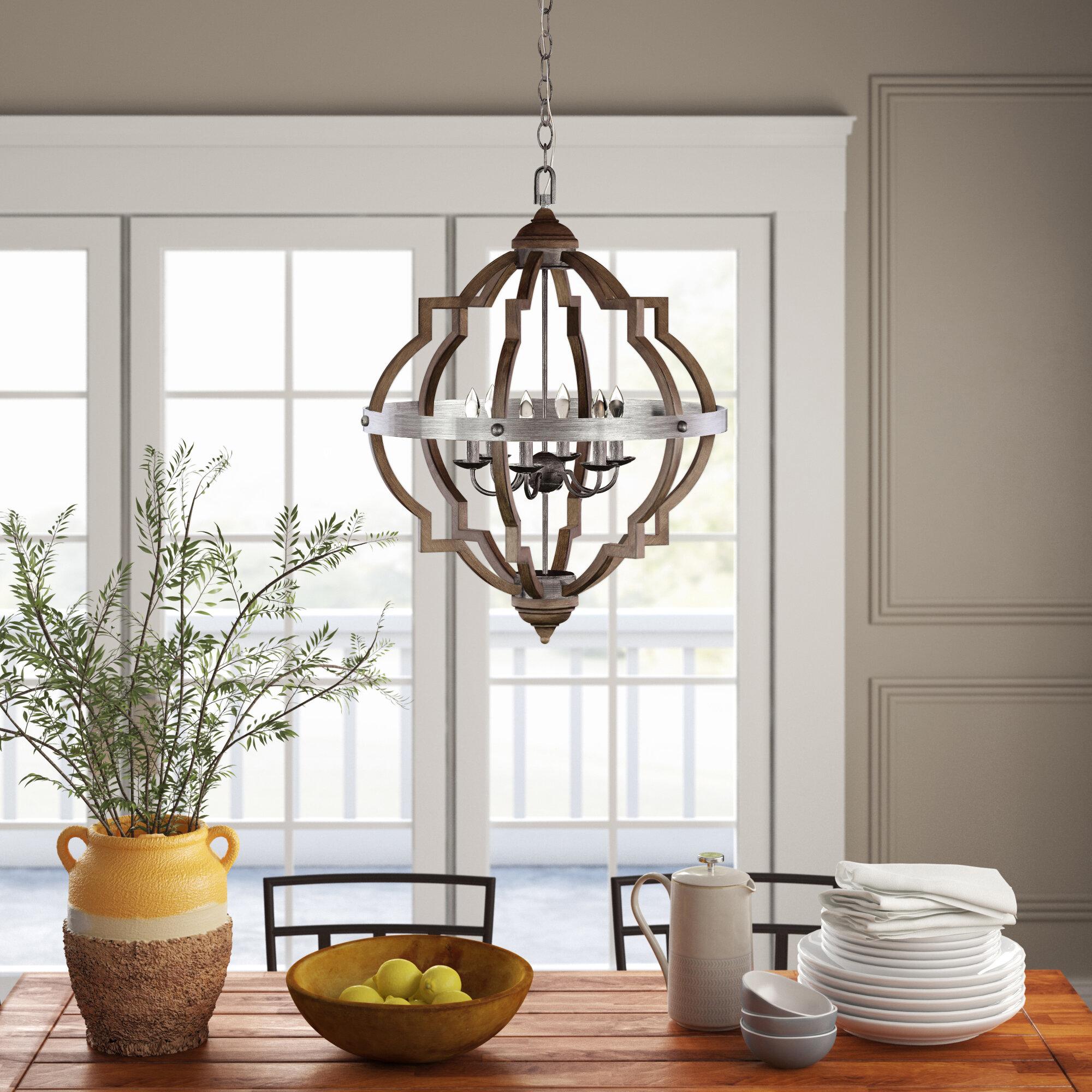 Forney 6 Light Lantern Geometric Chandelier Reviews Birch Lane