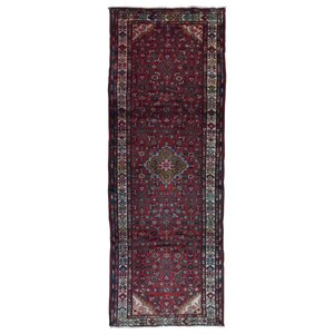 One-of-a-Kind Samson Hamadan Hand-Woven Wool Red Area Rug