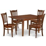 Georgiev 5 - Piece Extendable Rubberwood Solid Wood Dining Set by Winston Porter