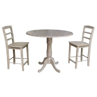 Spiva Round Top Pedestal Extending 3 Piece Pub Table Set