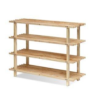 Charlton Home 4-Tier Wood Shoe Rack