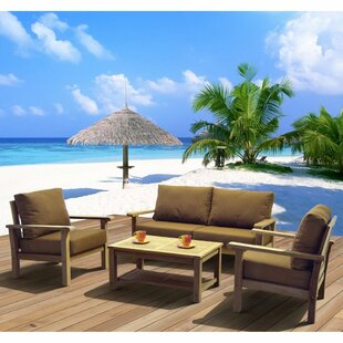 Elsmere 4 Piece Teak Sofa Set with Cushions by Beachcrest Home
