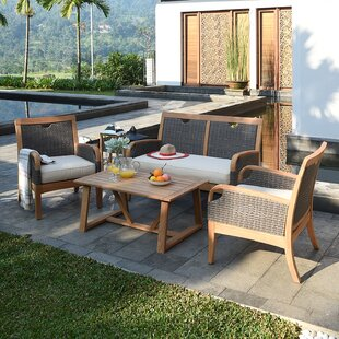 Mansfield 4 Piece Teak Sofa Seating Group with Cushions