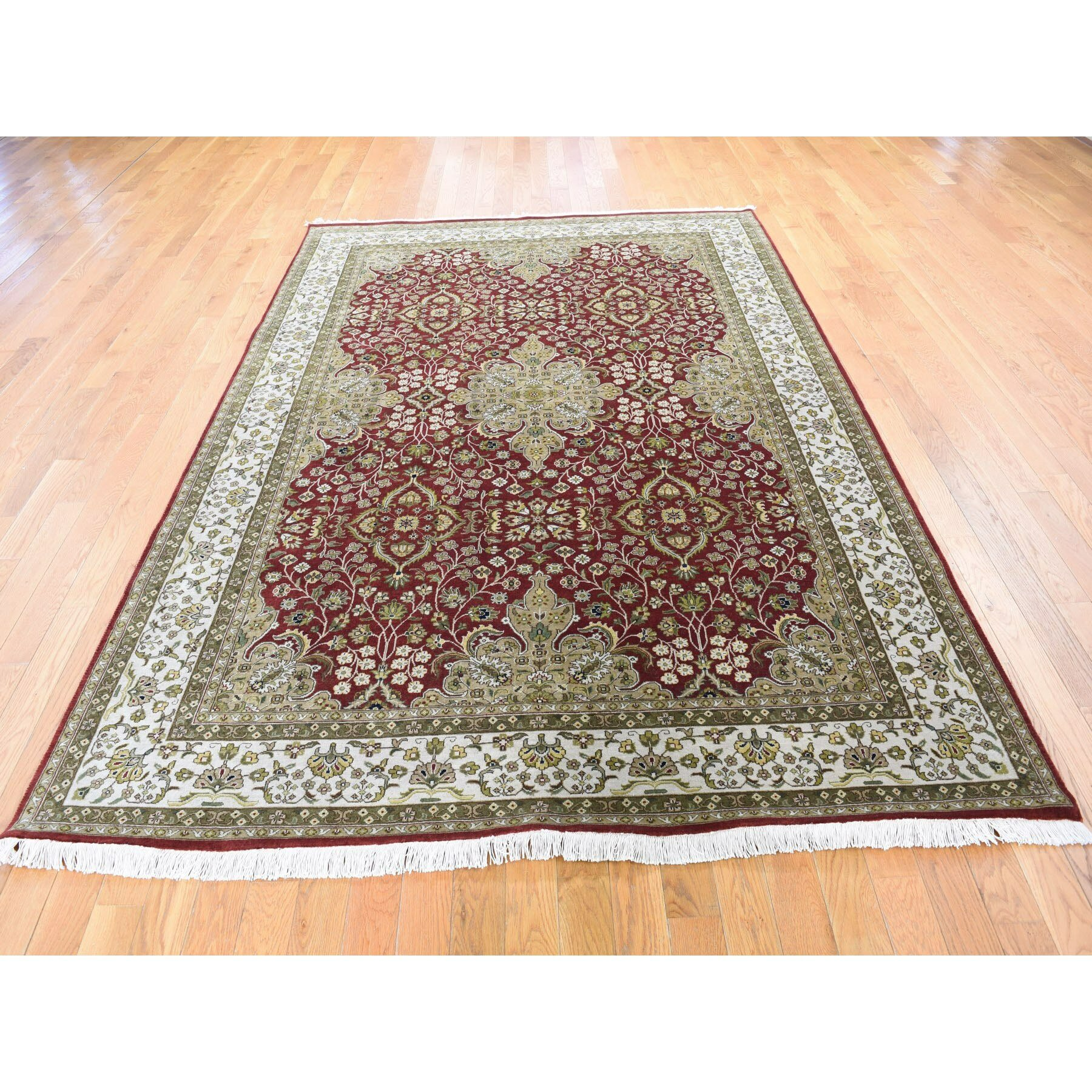 Bloomsbury Market One Of A Kind Faustus Hand Knotted Red Green 6 X 9 Wool Area Rug Wayfair