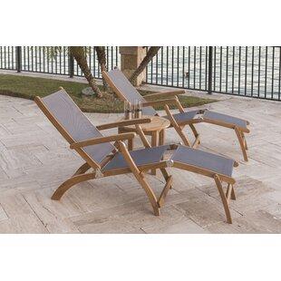 Pruitt Reclining Teak Sun Lounger Set with Table