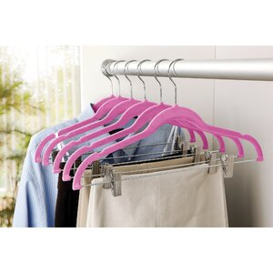 Velvet Suit Coat Non-Slip Hanger with Clip (Set of 6)
