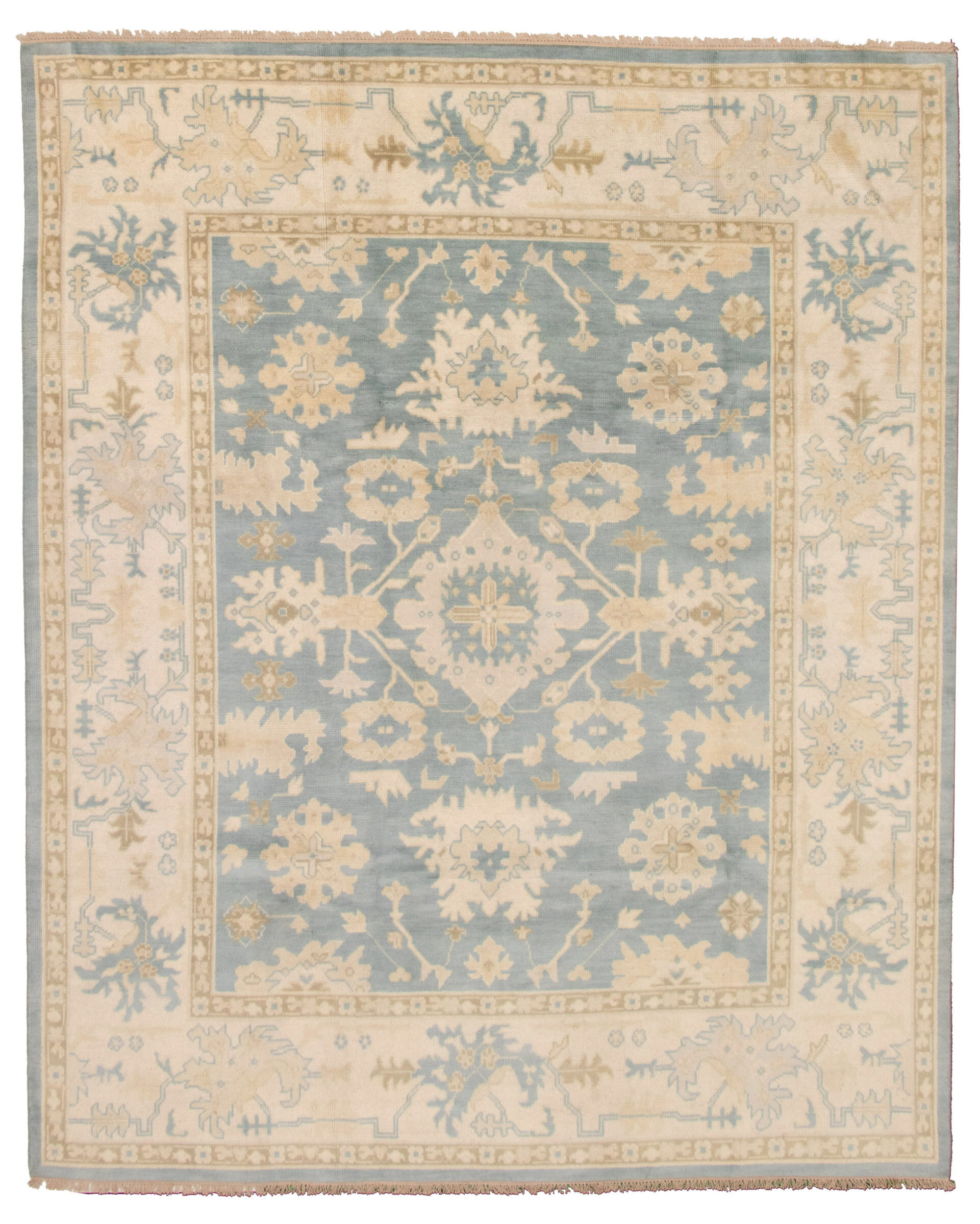 Ecarpetgallery One Of A Kind Hand Knotted New Age Ushak Ivory Khaki Light Blue 8 3 X 10 2 Wool Area Rug Wayfair