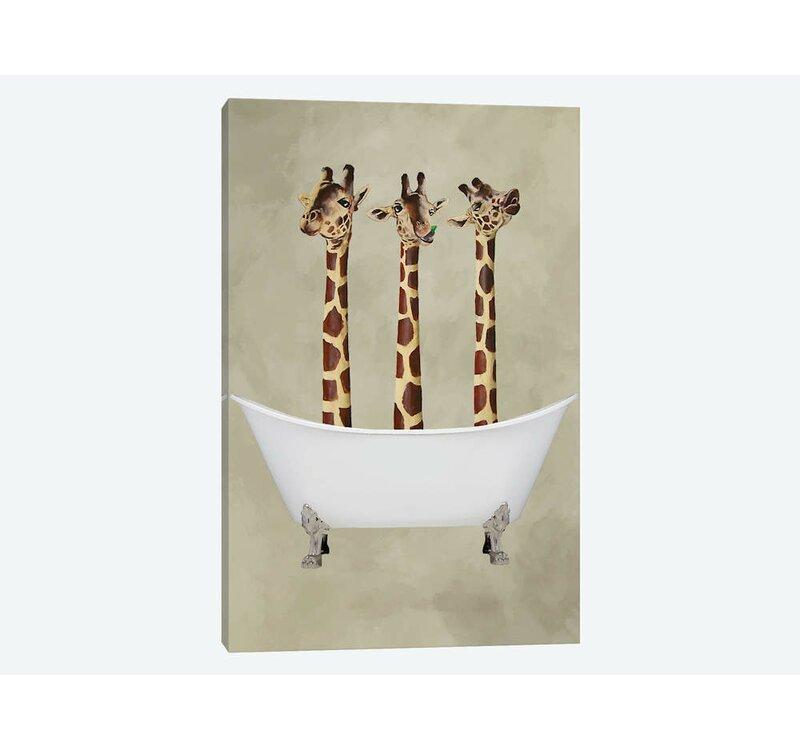 Mack Milo Giraffes In Bathtub Wrapped Canvas Graphic Art Print Reviews Wayfair Co Uk