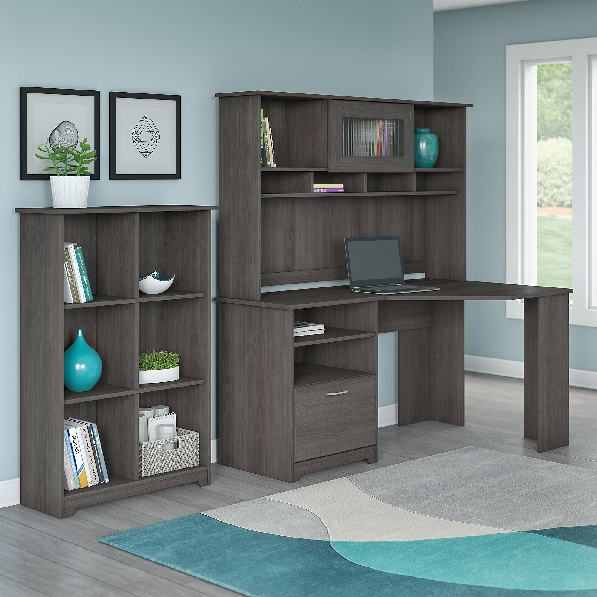 Red Barrel Studio Hillsdale Corner Desk With Hutch And 6 Cube Bookcase    Wayfair