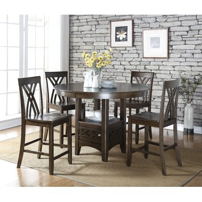 gracie oaks amy espresso wood 5 piece dining set & reviews | wayfair