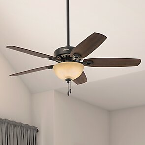Hunter Fan 52 Builder Deluxe 5 Blade Standard Ceiling Fan With Pull Chain And Light Kit Included Reviews Wayfair