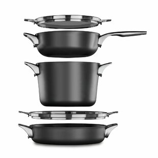 5 Piece Premier Space Saving Anodized Non-Stick Stainless Steel Cookware Set