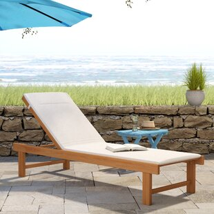 Beachcrest Home Elsmere Reclining Teak Chaise Lounge