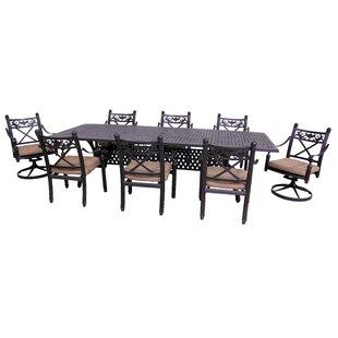 California Outdoor Designs Baldwin 9 Piece Dining Set with Cushions