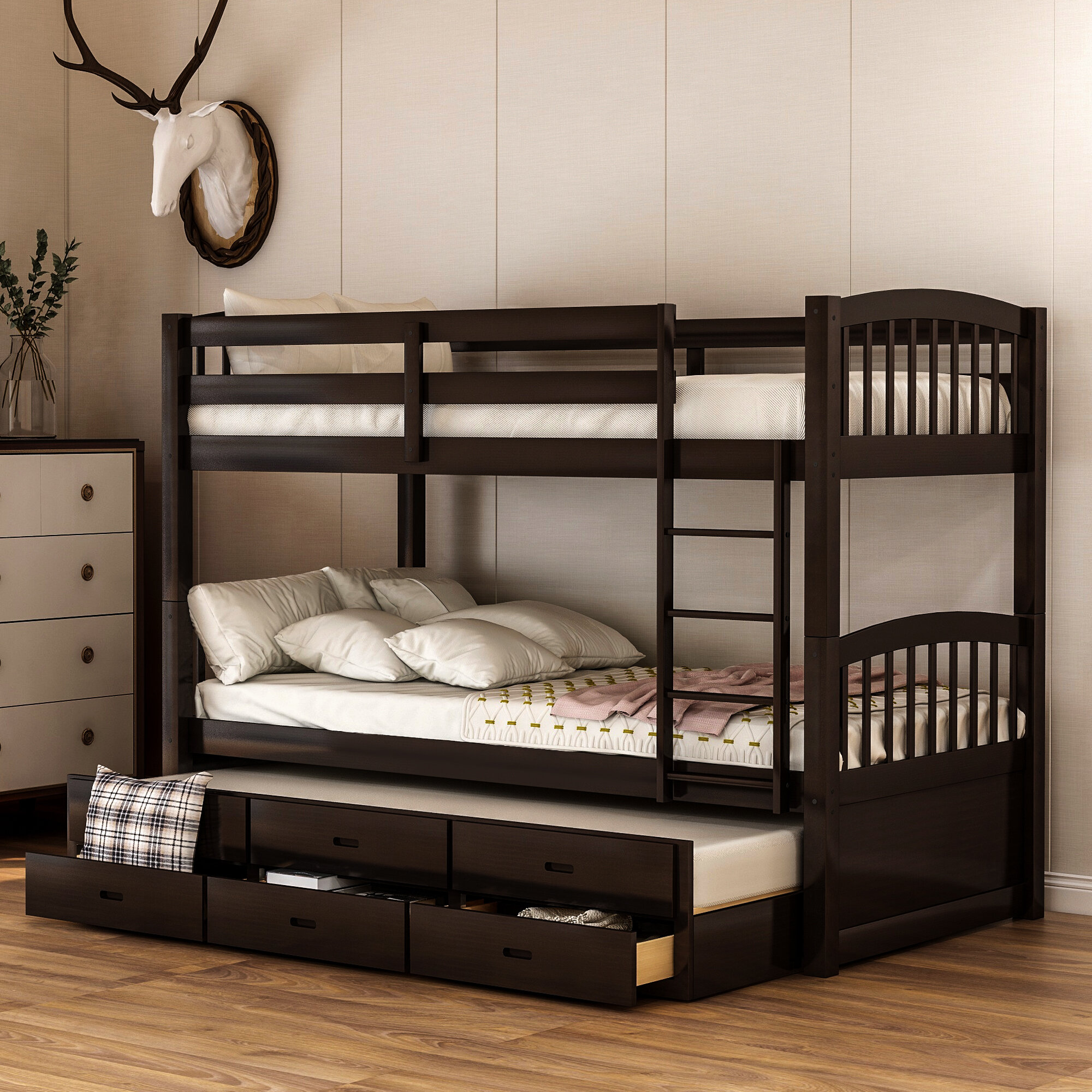 Image of: Harriet Bee Bovary Kid Twin Bunk Bed With Trundle Wayfair