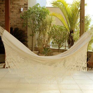 Novica Artisan Crafted Single Person Indoor and Outdoor Hand Woven with Crochet Fridge Brazilian Cotton Tree Hammock