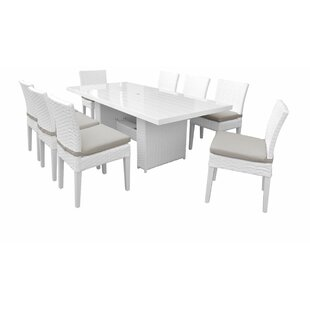 Monaco 9 Piece Outdoor Patio Dining Set with Cushions