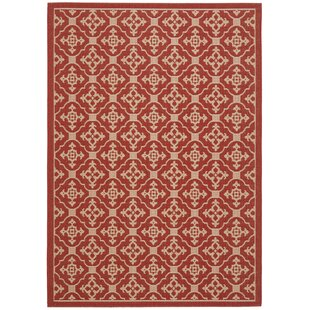 Short Red/Beige Indoor/Outdoor Area Rug