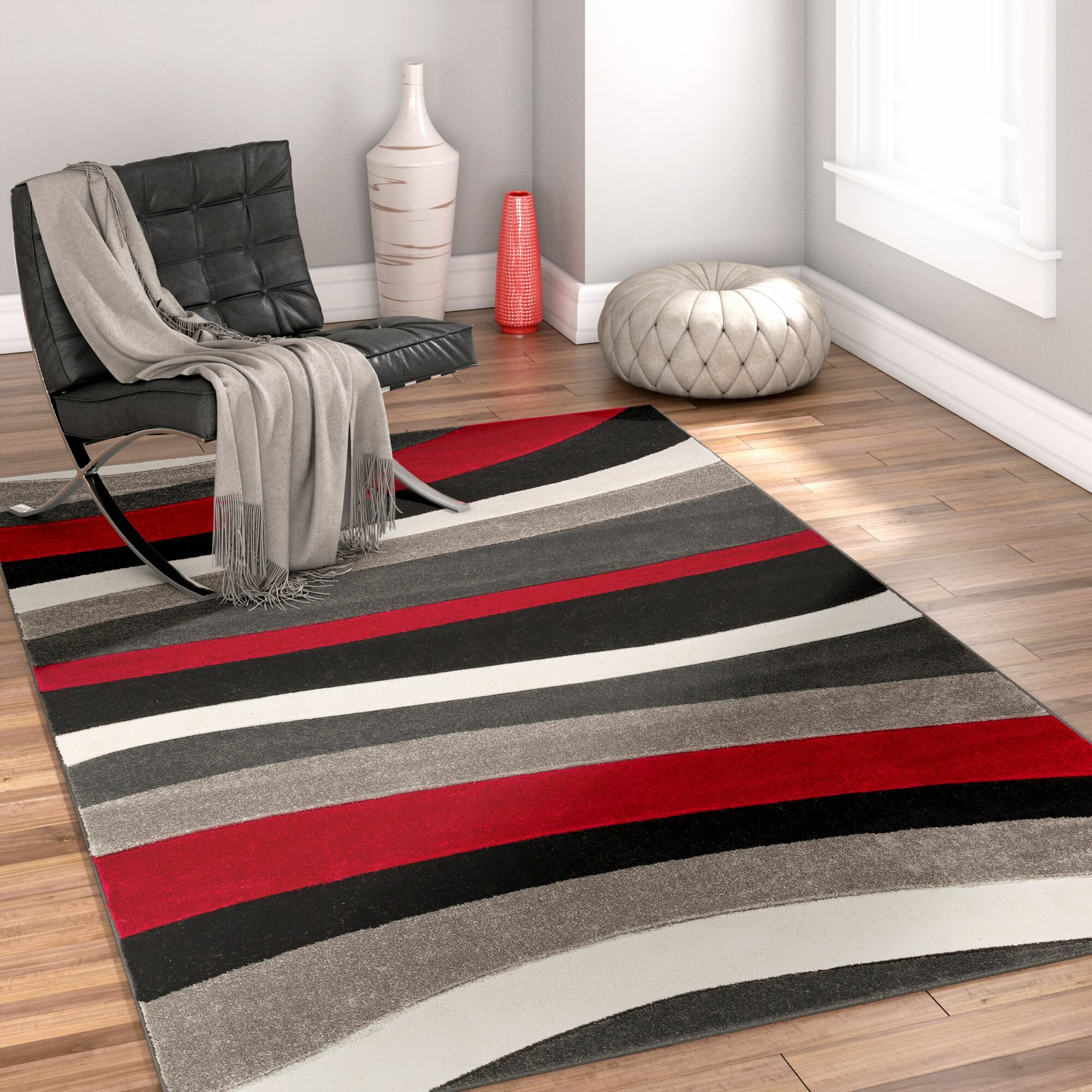 Well Woven Rad Wave Red Gray Black Area Rug Reviews Wayfair
