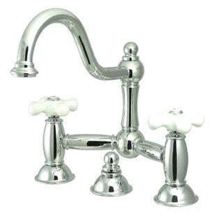 Centerset Bathroom Faucet with Double Porcelain Cross Handles by Elements of Design