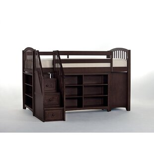 Harriet Bee Lyric Store and Study Loft Bed with Stairs