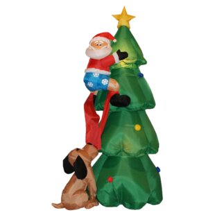 christmas tree with santa and dog decoration - Outdoor Dog Christmas Decorations
