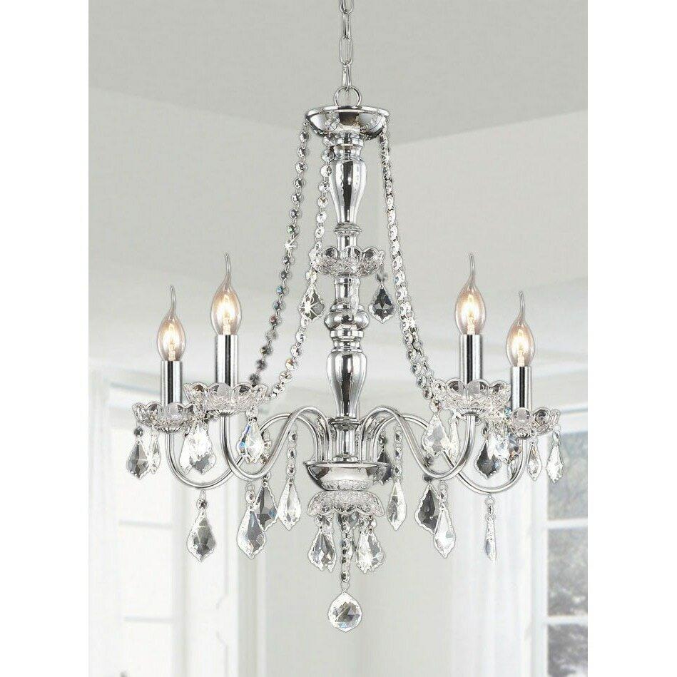 Jojospring 5 light led crystal chandelier reviews wayfair arubaitofo Choice Image