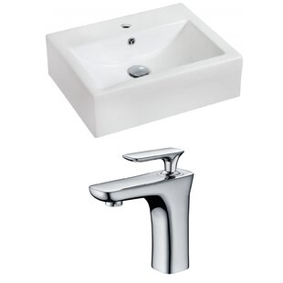 Purchase Ceramic 20 Wall-Mount Bathroom Sink with Faucet and Overflow ByRoyal Purple Bath Kitchen