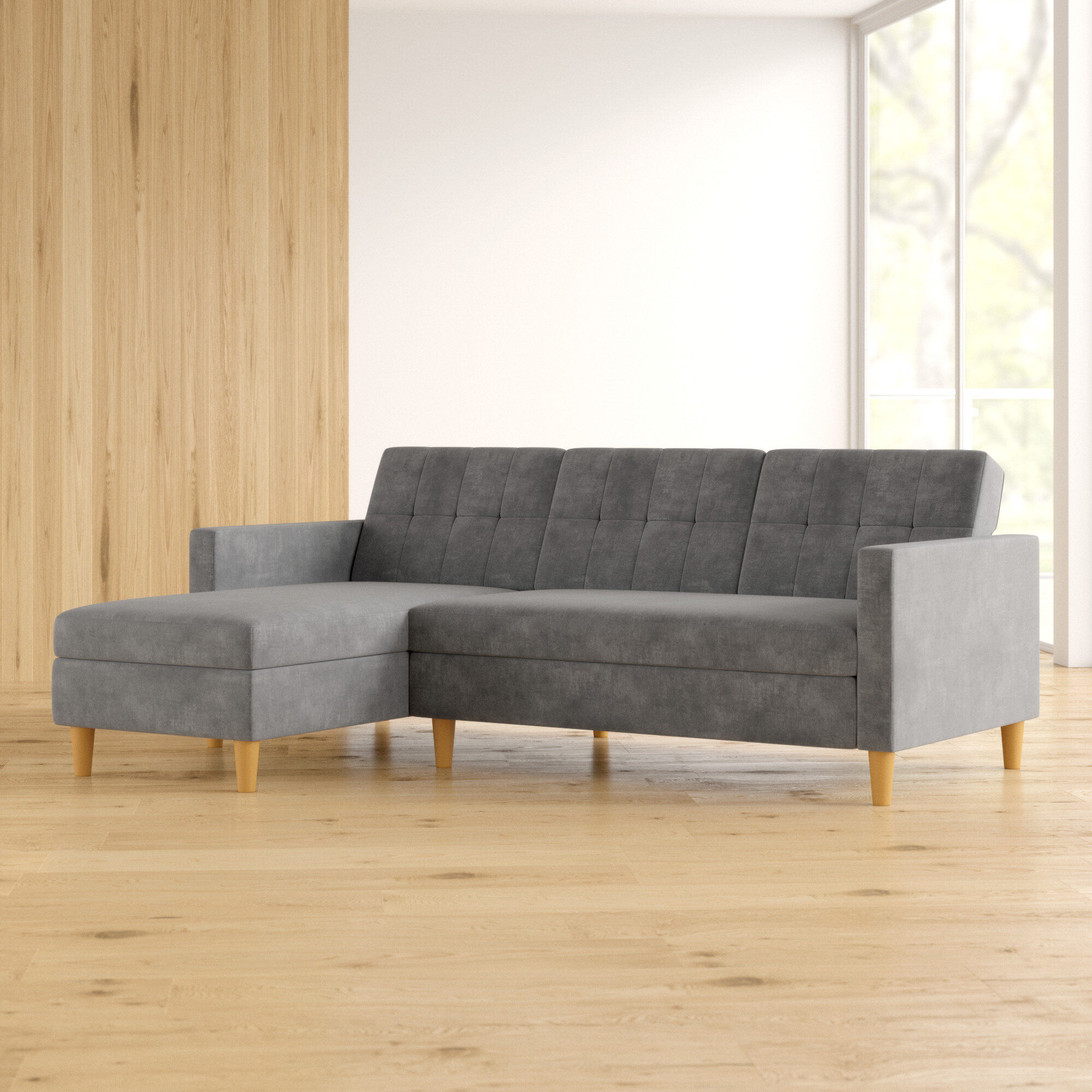 Sectional Sofa with Reversible Ottoman,L Shaped Sleeper Sofa Couch in Gray Fabric for Living Room