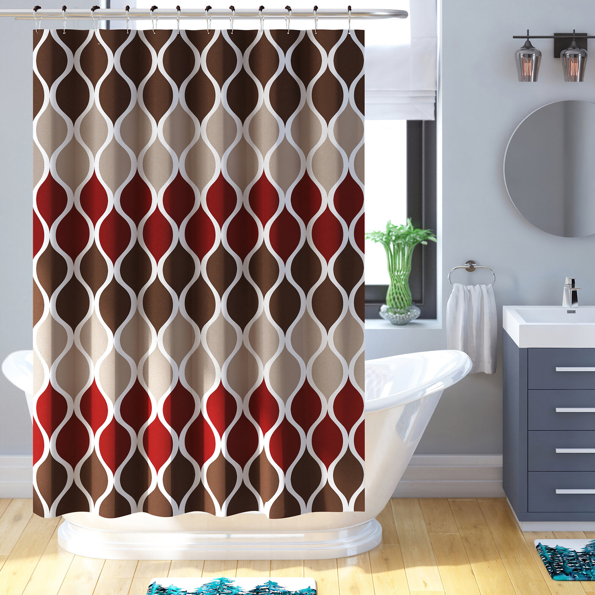 Charlton Home Yarmouth Geometric Single Shower Curtain Hooks Reviews Wayfair