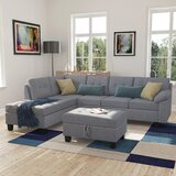 Albric 104.7'' Velvet Left Hand Facing Sofa & Chaise with Ottoman by Red Barrel Studio®