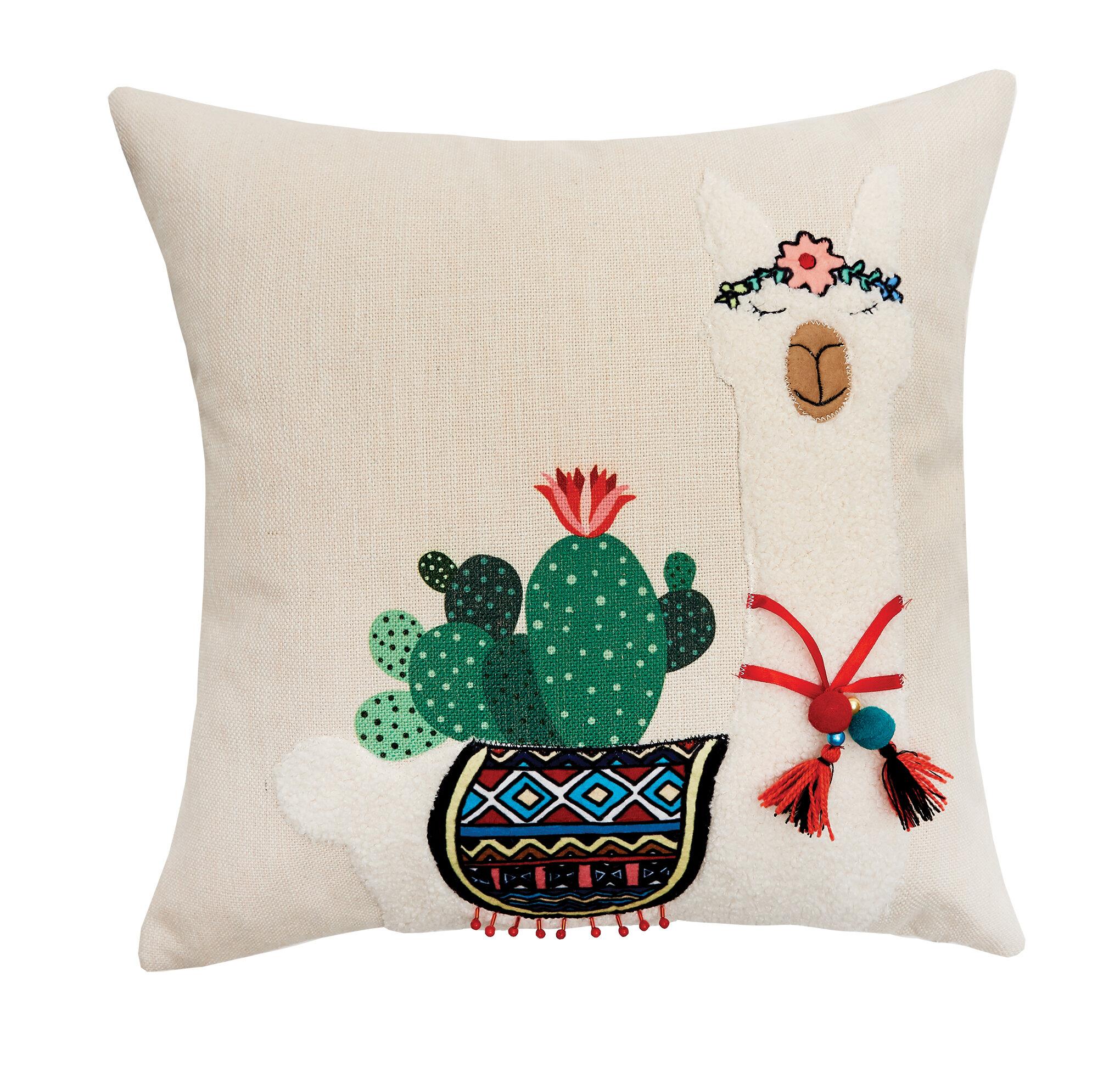 Bungalow Rose Sycamore Llama And Cactus Throw Pillow Wayfair