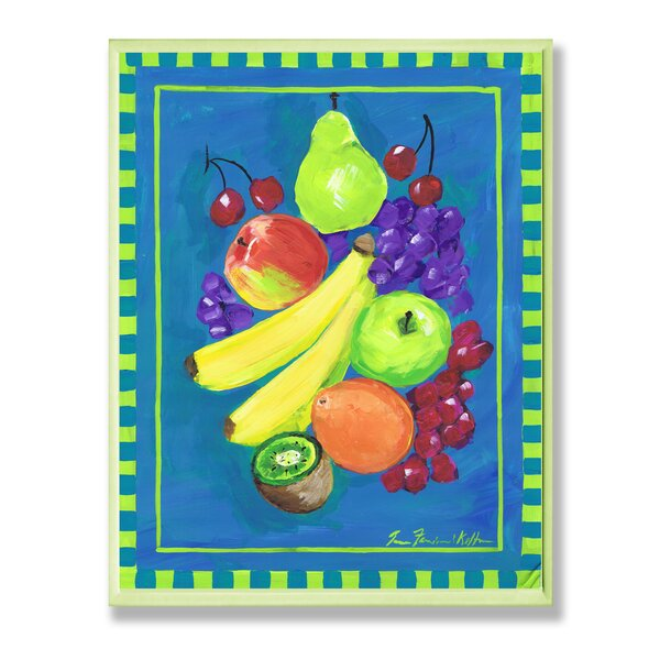 Assorted Fruit on Blue and Green Painting Wall Plaque - Culinary Wall Decor