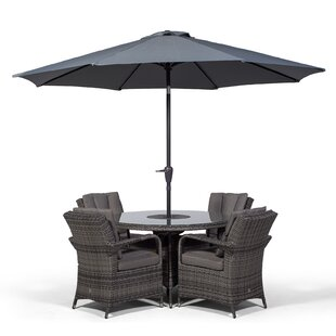 Karas 4 Seater Dining Set With Cushions And Parasol By Sol 72 Outdoor