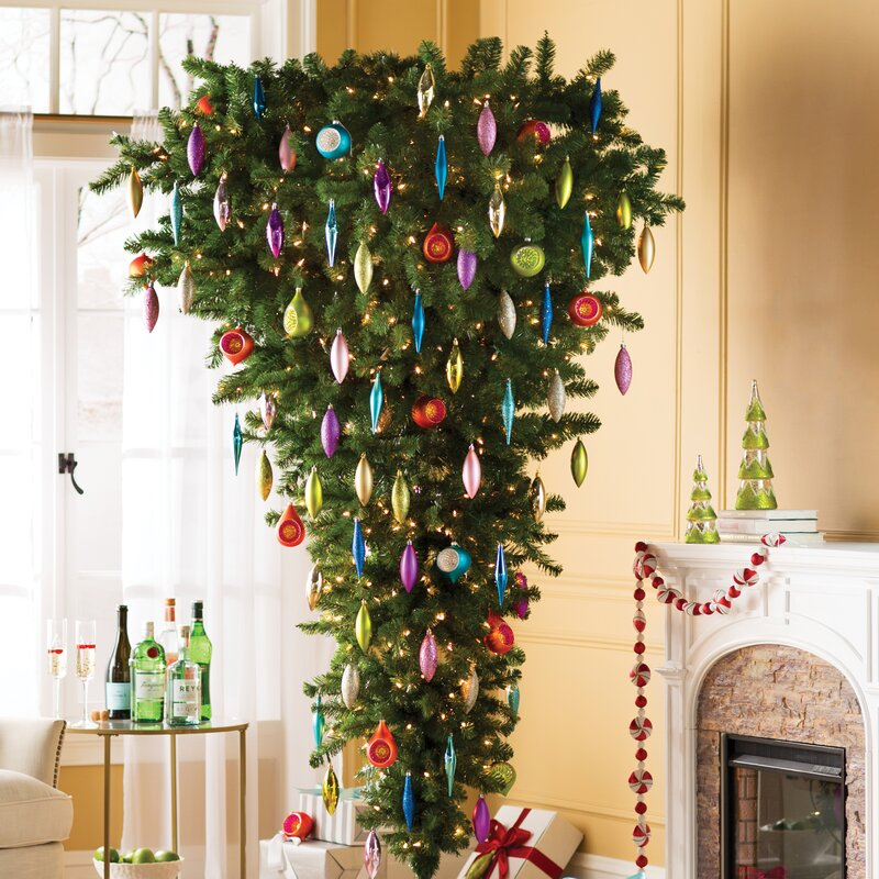 The Holiday Aisle 7.5' Green Upside Down Artificial Christmas Tree ...