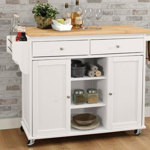 Rodin Kitchen Cart with Solid Wooden Top Charlton Home