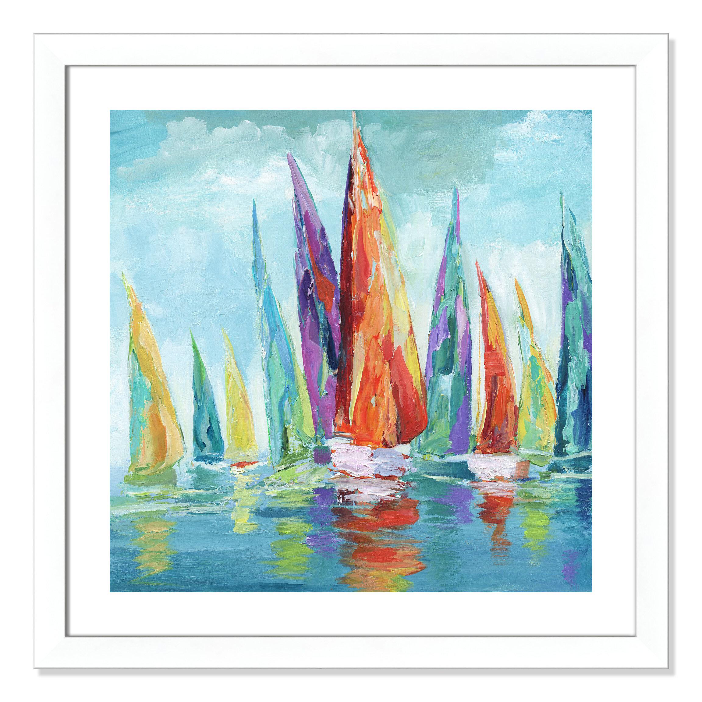 Breakwater Bay Fine Day Sailing I Framed Acrylic Painting Print Wayfair