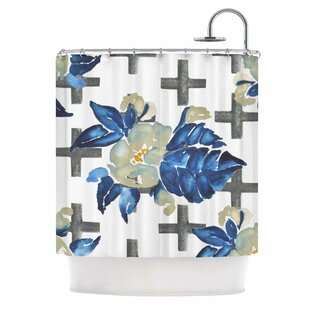 'Plus Sign Floral' Single Shower Curtain